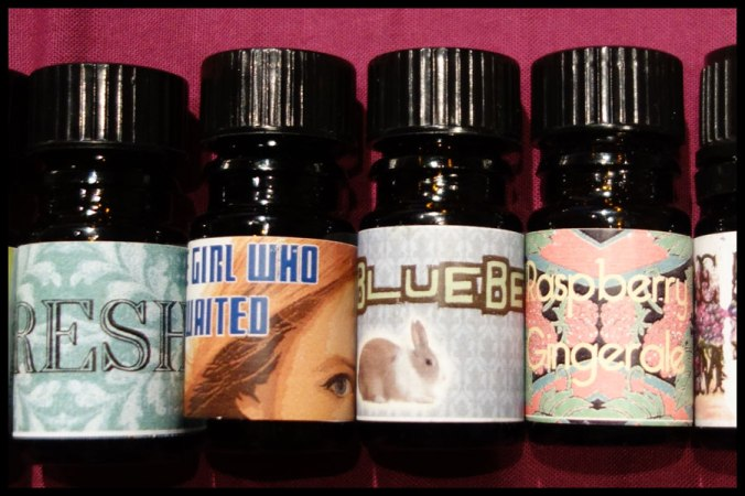 Some of the OHWTO perfume oils I have, the labels are so pretty