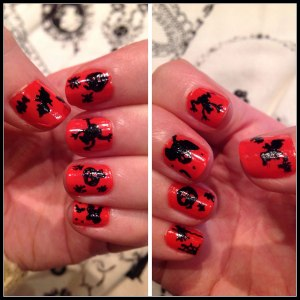 Black silhouettes on a bright colour work well for nail art and can be less fiddly