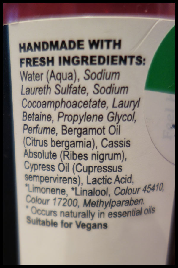 Comforter Shower Gel ingredients