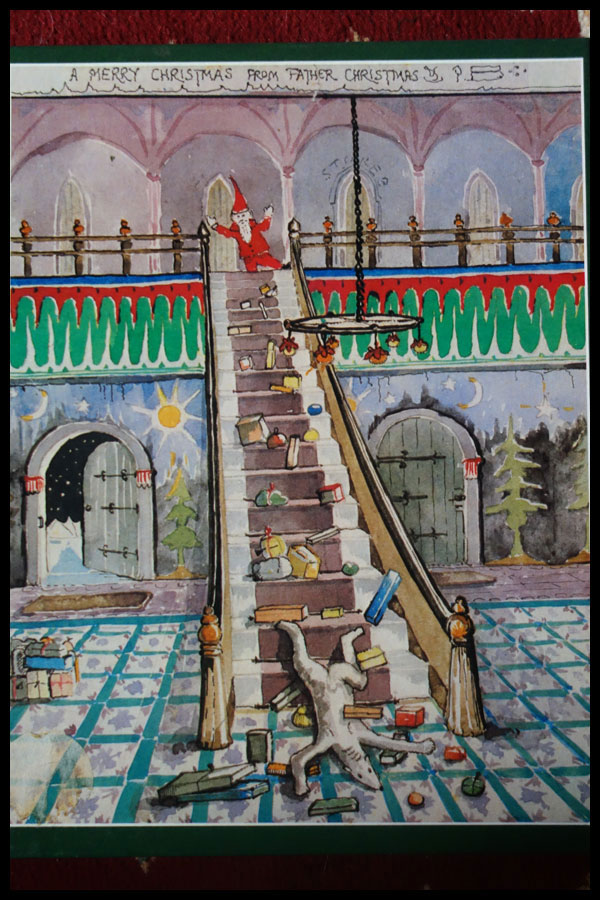 An image from the Father Christmas Letters by JRR Tolkien. It shows Santa at the top of a flight of stairs and a polar bear fallen down at the bottom with a trail of presents behind him