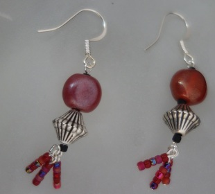 red silver plated earrings 2