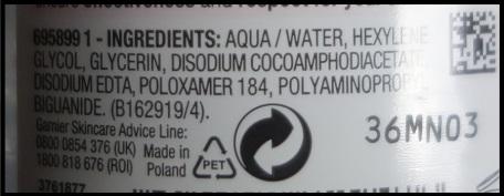 Garnier Micellar Cleansing Water ingredients