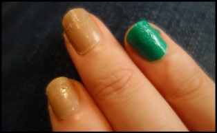 One coat of Trillion Taupe and Emerald Green