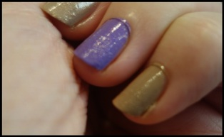 Two coats of Trillion Taupe and Pear Purple