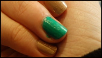 Two coats of Trillion Taupe and Emerald Green