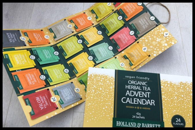 The Holland and Barrett Organic Herbal Tea advent calendar. There are 23 tea bags, number 4 is missing.