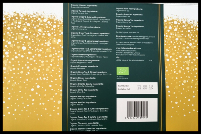 The back of the Holland and Barrett Organic Herbal Tea advent calendar. It shows all 24 types of tea and their ingredients.