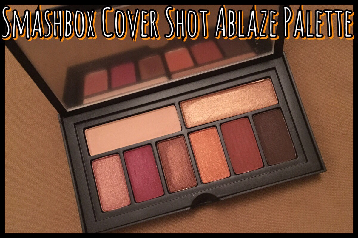The title image with the Smashbox Cover Shot Palette in Ablaze open to show the eyeshadows