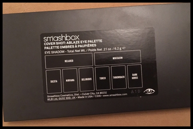 Image showing the back of the palette and the picture giving the eyeshadow names