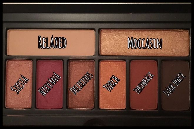 An image of the eyeshadows inside the palette with the names labelling each one