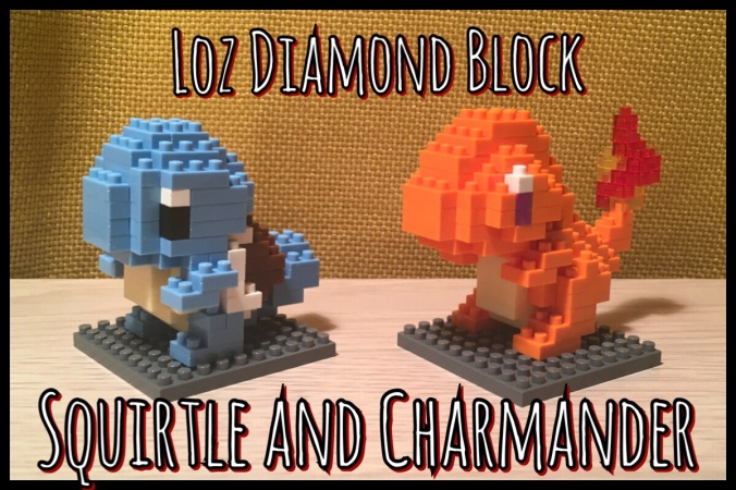 Loz Diamond Blocks models of a Squirtle and Charmander next to each other