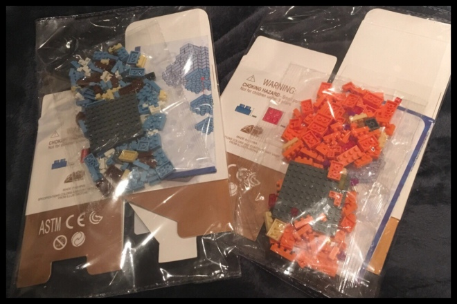 An image showing the contents of the package from the post. There are two clear bags, each has in it: a flat pack box, a bag of pieces to build the model, and the instructions