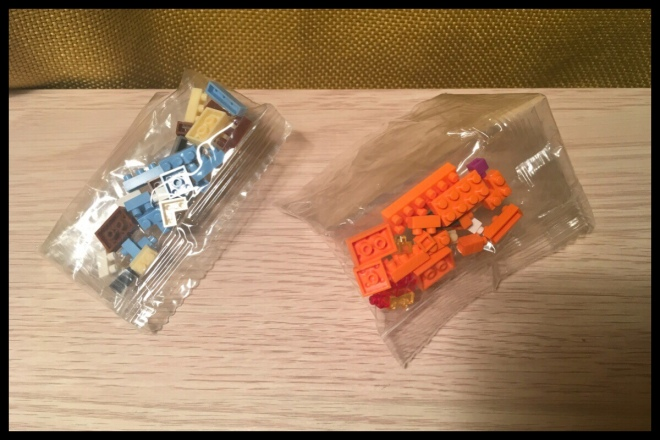 An image showing the two bags of spare pieces, one for Charmander and one for Squirtle