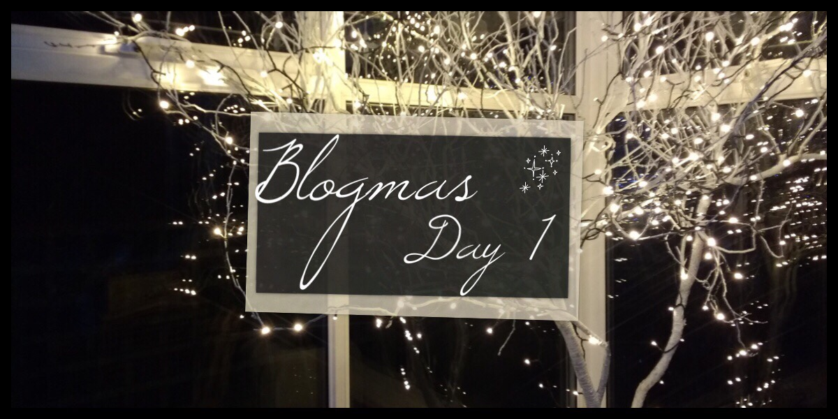 The Blogmas Day 1 header image. It shows the title in a box in the centre with a photo of white branches decorated with fairy lights behind