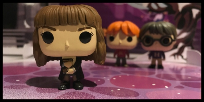 The Hermione Funko Pop figure is standing in front of the Harry Potter and Ron Weasley figures from the past two days
