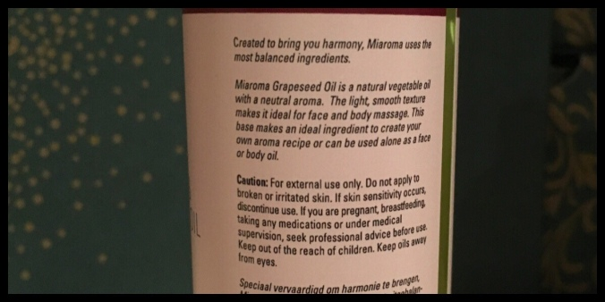 The back of the Grapeseed Oil bottle, it gives instructions on how to use it