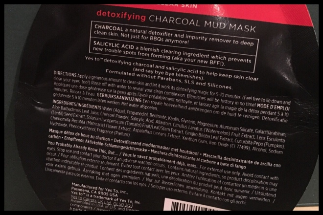 The back of the sachet with the ingredients listed on it