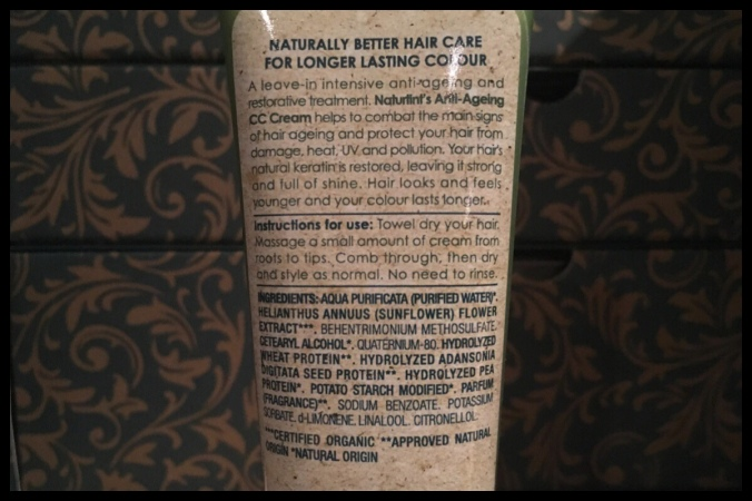 The back of the tube of CC Cream with the ingredients and instructions on