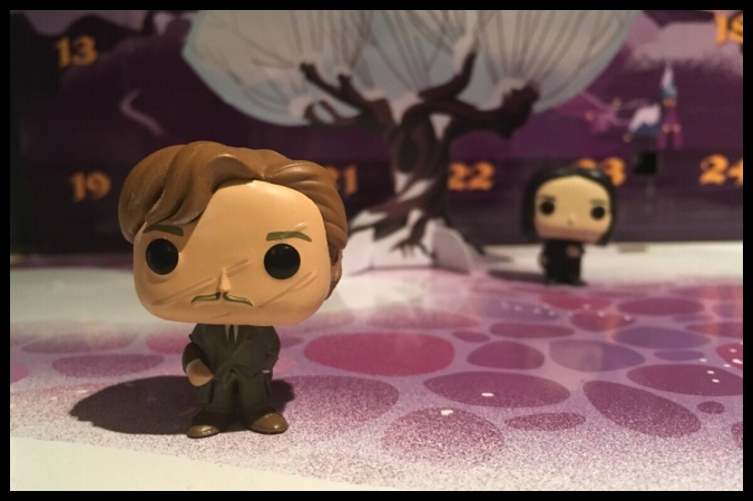 In the foreground is the Remus Lupin figure, in the background is the Severus Snape from a previous day