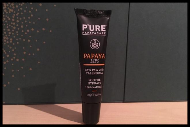 The front of the P'ure Papaya Lip balm tube