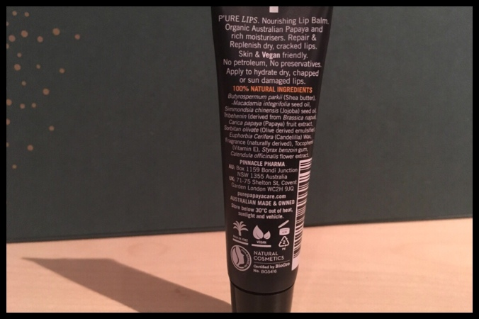 The back of the tube of lip balm including the ingredients