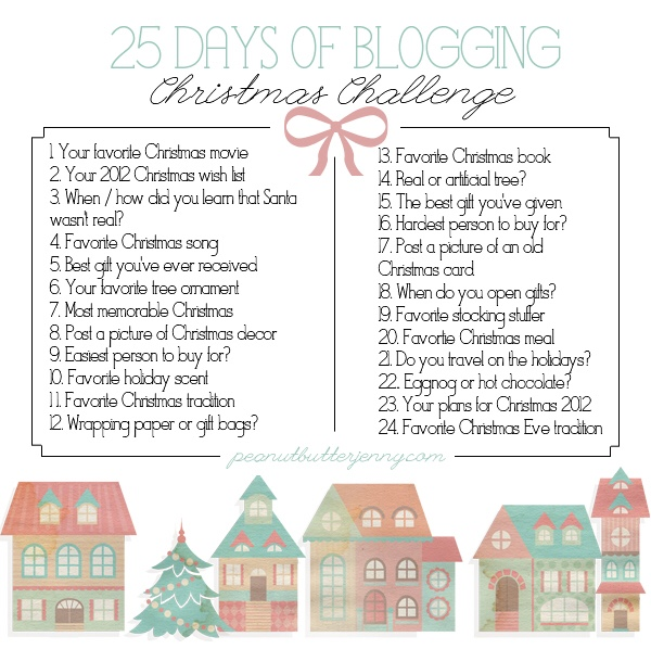 A graphic showing a list of 25 Christmas themed questions to answer for Blogmas