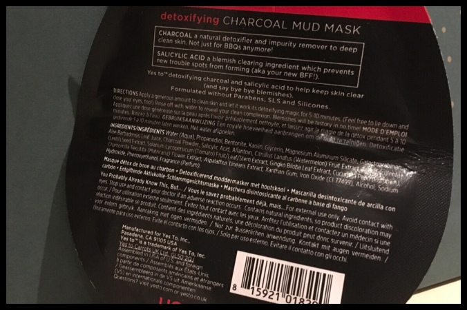 The back of the face mask sachet showing the ingredients and instructions for use