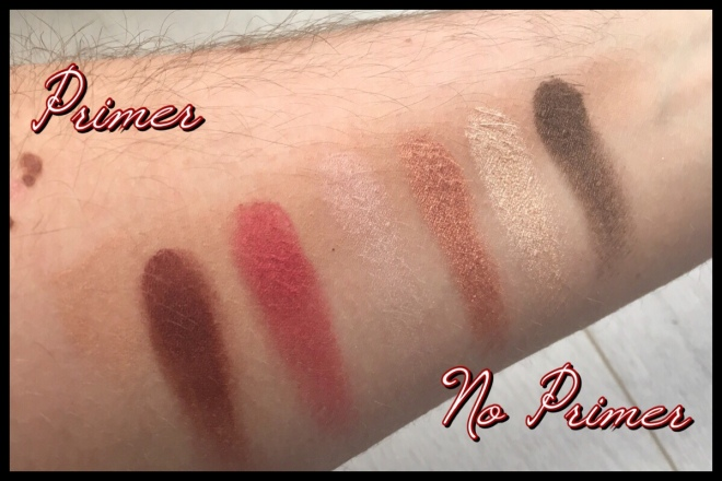 Swatches of the Gryffindor eyeshadow palette, both with and without a primer base