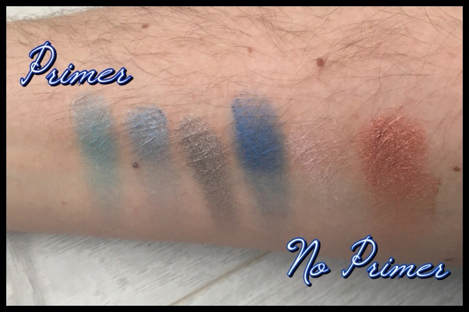 Swatches of the Ravenclaw eyeshadows, with and without a primer base