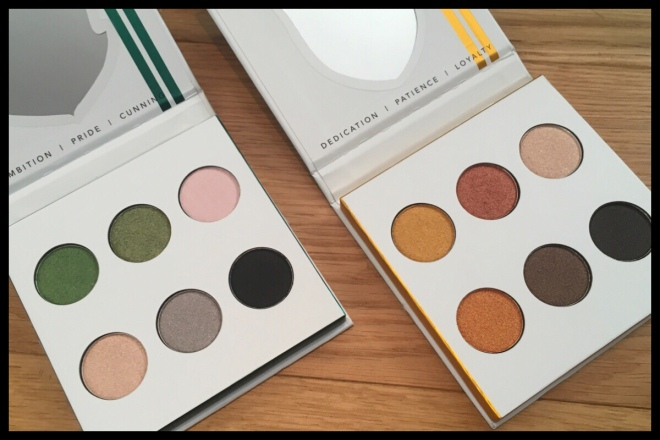 The two palettes opened to show the six eyeshadows in each, Slytherin is on the left and Hufflepuff on the right. Slytherin is mainly greens and cool tones and Hufflepuff mainly yellow.
