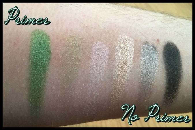 The Slytherin eyeshadows, with and without a primer base