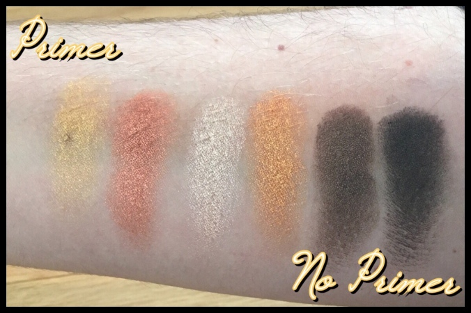 The Hufflepuff eyeshadows, with and without a primer base