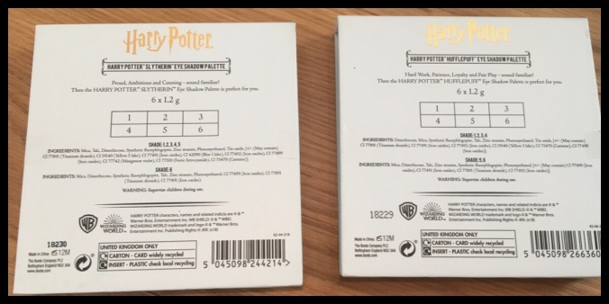The back of the Slytherin and Hufflepuff Palettes, it shows the ingredients for the different shadows