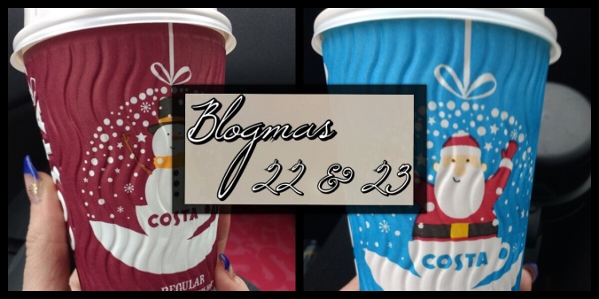 The Blogmas title image. It is split in two with two Christmas Costa coffee paper cups, one on each side