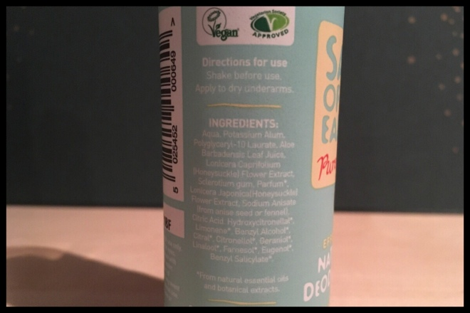 The back of the salt of the earth spray deodorant bottle, it shows the ingredients