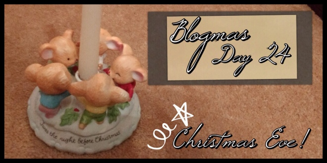 The Blogmas title with a photo of a 'Night Before Christmas' moose candle holder