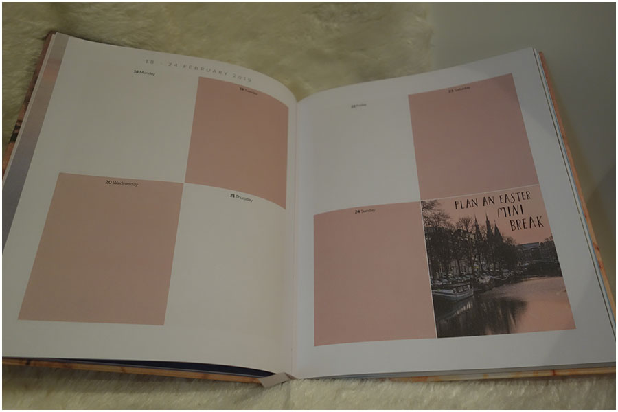 The inside of the larger diary, there are seven boxes for the days and the eight box has an image of a lake with woods by it and the tex 'plan an easter mini break'