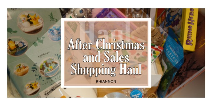 After Christmas Sales SHopping Haul title image. Behind the text is a photo of different products bought after the sales