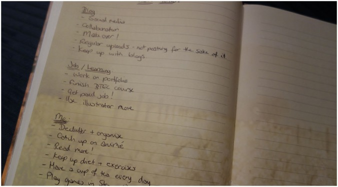 A list of goals hand written in the back of a diary