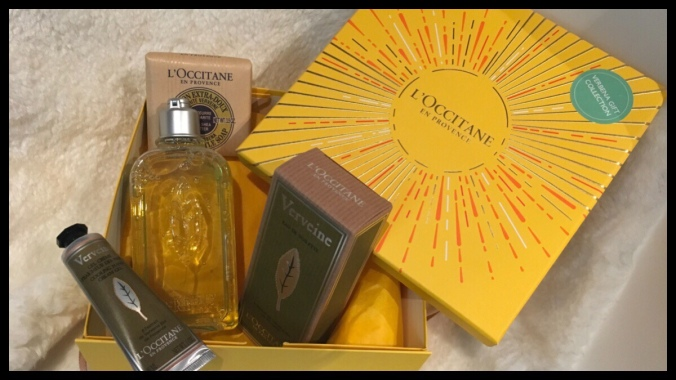 The Loccitane Verbena gift set. Inside the box is a perfume, soap, shower gel and hand cream
