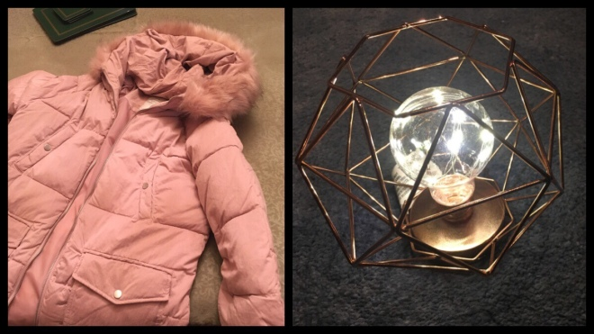 On the left is a dusty pink coat and on the right is a rose gold geometric lamp