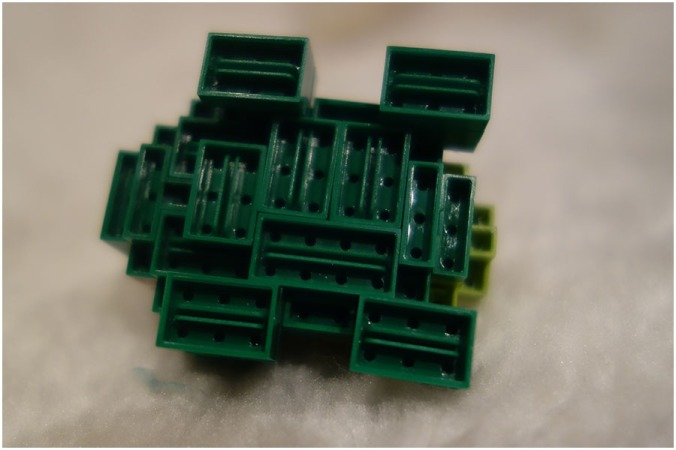 The view of the Bulbasaur underneath, it shows the way the bricks connect and how easily they slide