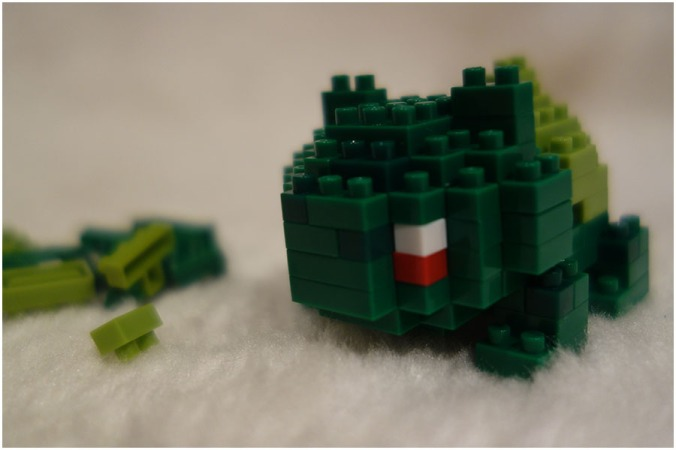 A closeup of the Bulbasaur model when it has been put together.