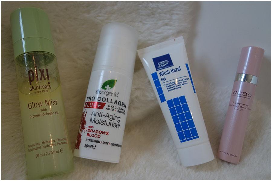 The Pixi Glow Mist, Dr Organic Pro Collagen Plus Dragon's Blood Moisturiser, Witch Hazel Gel and Nubo moisturiser