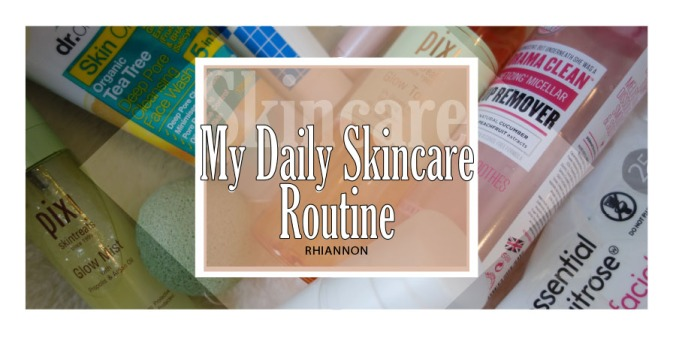 My Daily Skincare Routine title image. Behind the text is a photo of different skincare products