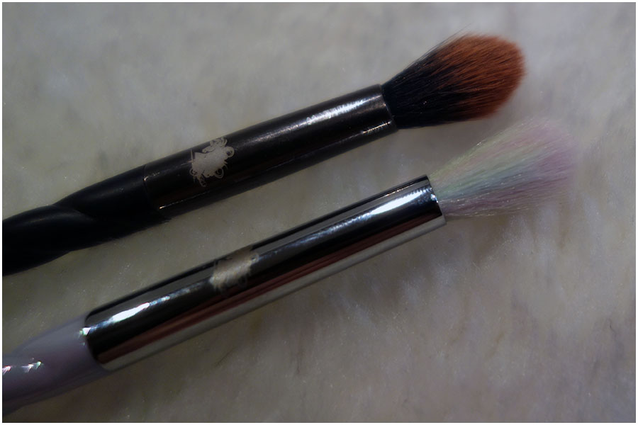 The Mixtape brush next to the blending brush from the Unicorn Cosmetics Spookalicious set