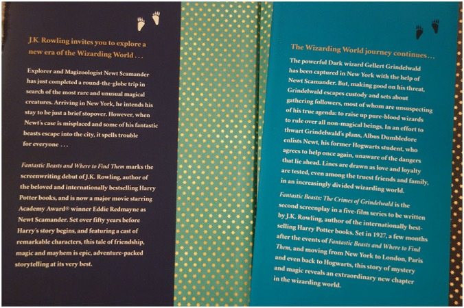 The blurb for each of the books on the inside cover of the dust cover of Fantastic Beasts and Where to Find Them and the Crimes of Grindelwald