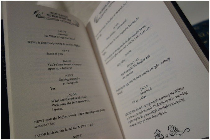 A photo of one of the pages from Fantastic Beasts and Where to Find Them, showing the detail and the layout of the text