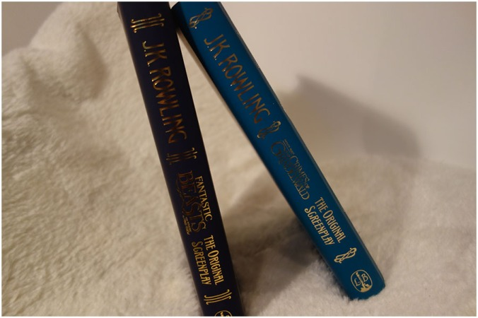 The Spines of Fantastic Beasts and Where to Find Them and the Crimes of Grindelwald standing up and leaning against each other