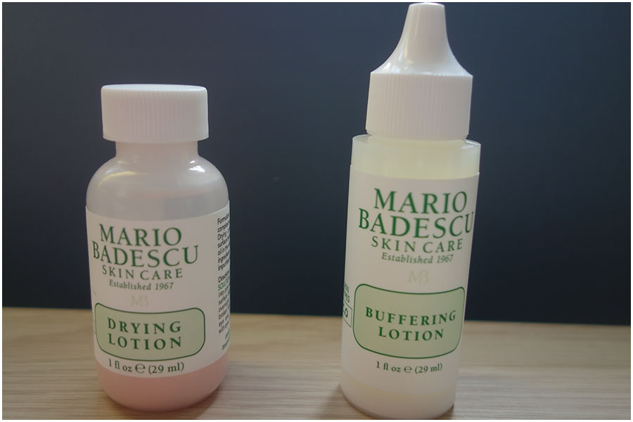 The two Mario Badescu bottles next to each other. On the left is the drying lotion and on the right the buffering lotion